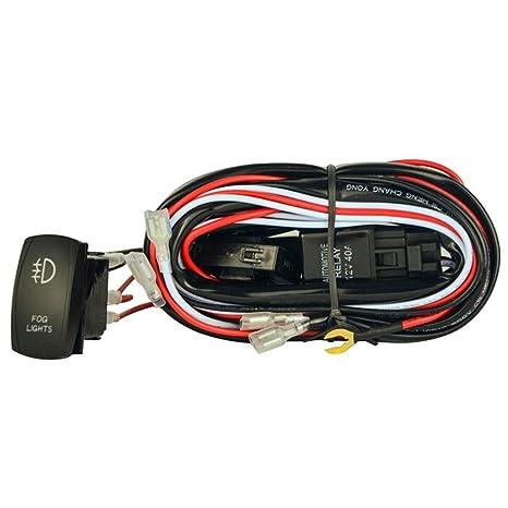 Interruptor LED Rojo Universal de la luz de Niebla arnés de cableado Fusible Interruptor oscilante relé