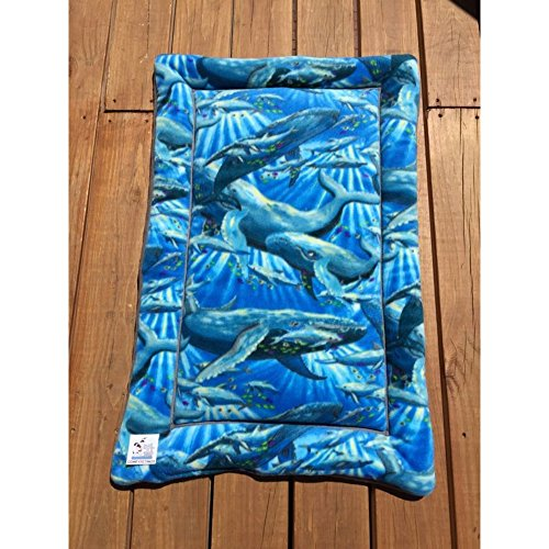 Nautical Dog Bed with Humpback Whales and Dolphins Crate Pad for Dogs Cat Mat Fits 24x36 Kennels Washable by Comfy Pet Pads