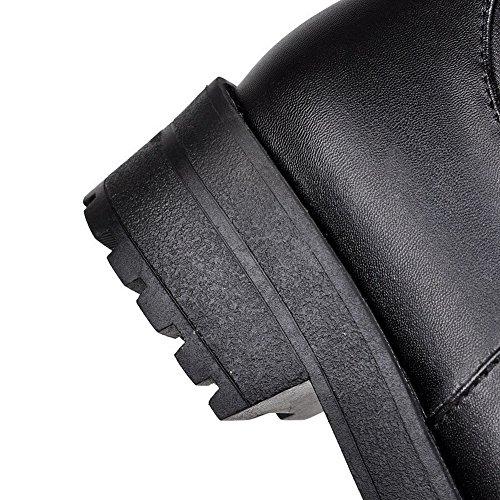AllhqFashion Mujeres Cremallera Puntera Redonda Cerrada Mini Tacón Caña Alta Sólido Botas Negro