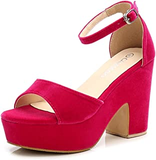 3e6eff877410 CAMSSOO Women s Solid Color Open Toe Ankle Strap High Heels Wedge Sandals Block  Heel Plarform Shoes
