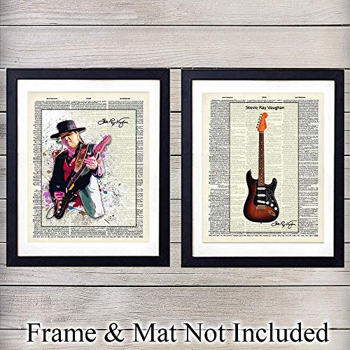 - Stevie Ray Vaughan & Guitar - Wall Art Prints On Photo of Dictionary Page - Set of Two - Great Gift for Music and Rock n Roll Fans - Cool Steampunk Home Decor - Ready to Frame (8x10) Vintage Photos