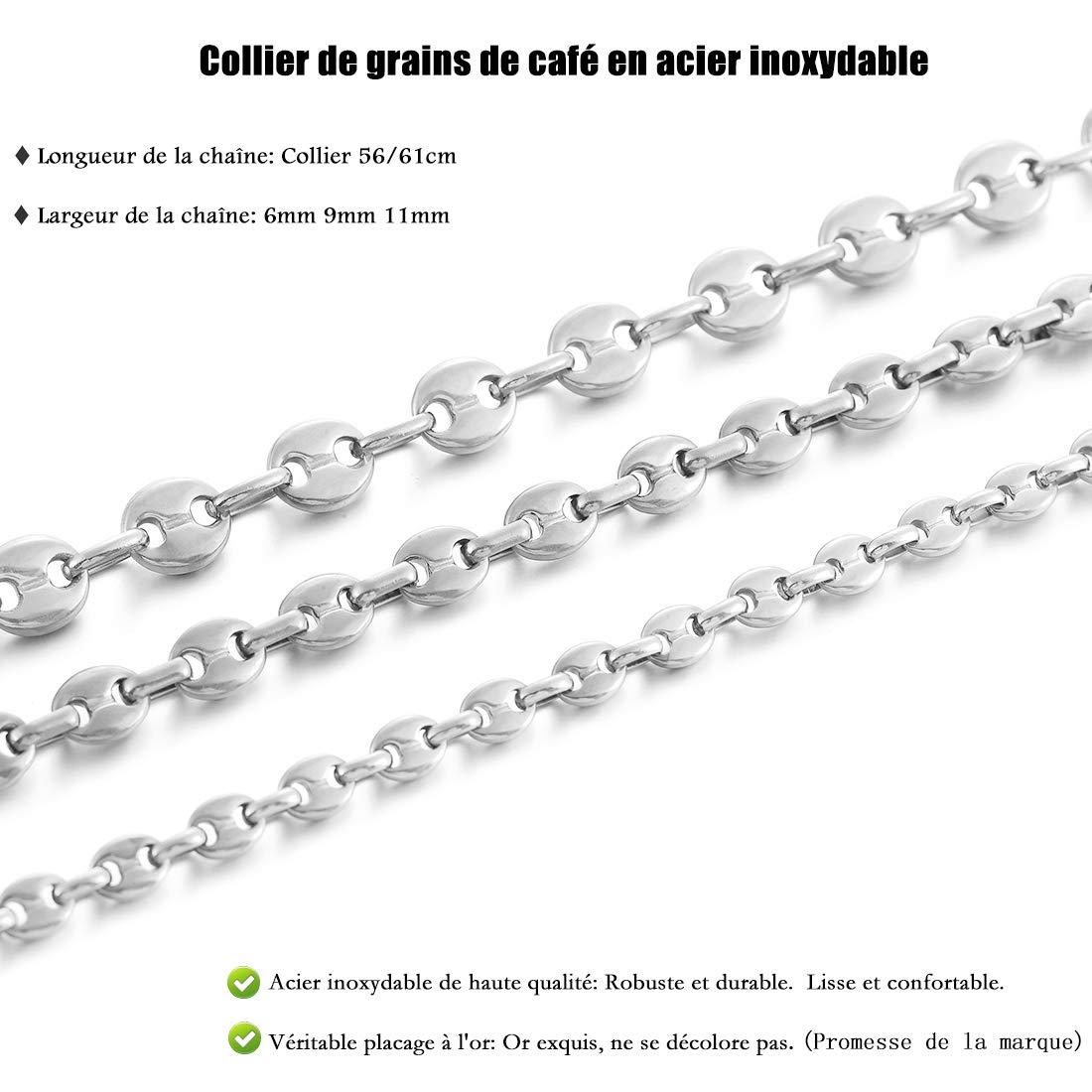AFSTALR Collier Grain de Caf/é Chaine Maille Homme Collier Biker en Acier Inoxydable Argent Or Noir (6mm 9mm 11mm