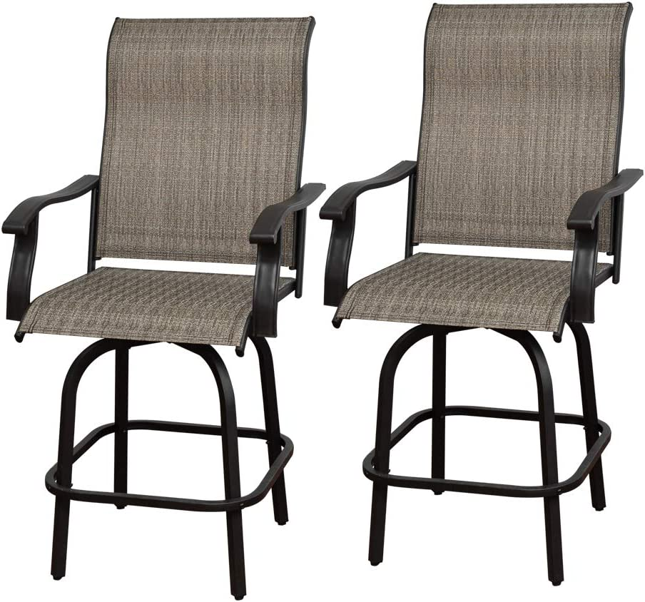 June Win 2 Pieces Outdoor Furniture Bar Stools Set of 2 Patio Height Chairs Swivel Bar Table and Chairs Furniture Patio Bar Stool All-Weather Patio Furniture for Yard,Backyard and Garden((2 Chair)…