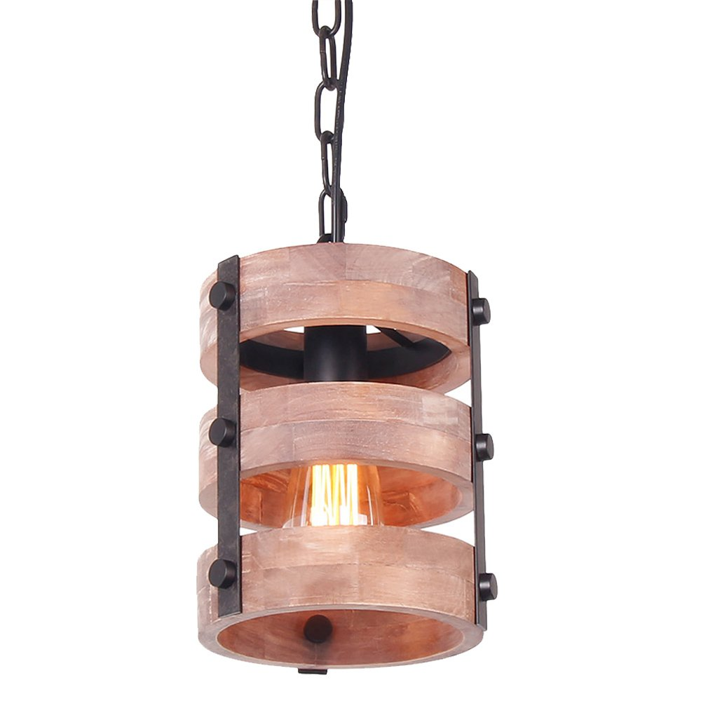 Anmire Rustic Pendant Light of Vintage Antique Ceiling Hanging Lighting Fixture Height Adjustable with Edison Lamp and Wood Metal Round Frame for Kitchen Dining Room Living Room