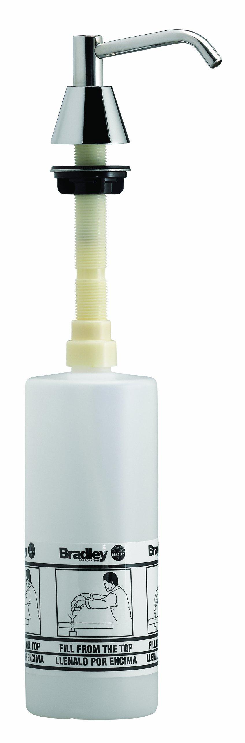 Bradley 6324-680000 Lavatory Mounted Soap Dispenser, 32 oz. Capacity, 4'' Spout, 8-15/16'' Length x 3-1/4'' Width