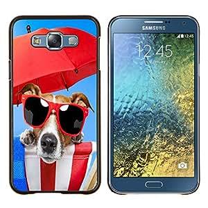 TECHCASE---Cubierta de la caja de protección para la piel dura ** Samsung Galaxy E7 E700 ** --Dog Beach Gafas de sol Paraguas Rojo Mar Verano