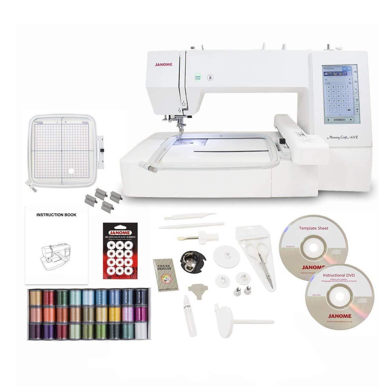 Janome Memory Craft 400E Embroidery Machine with Exclusive Bonus Bundle MC400E