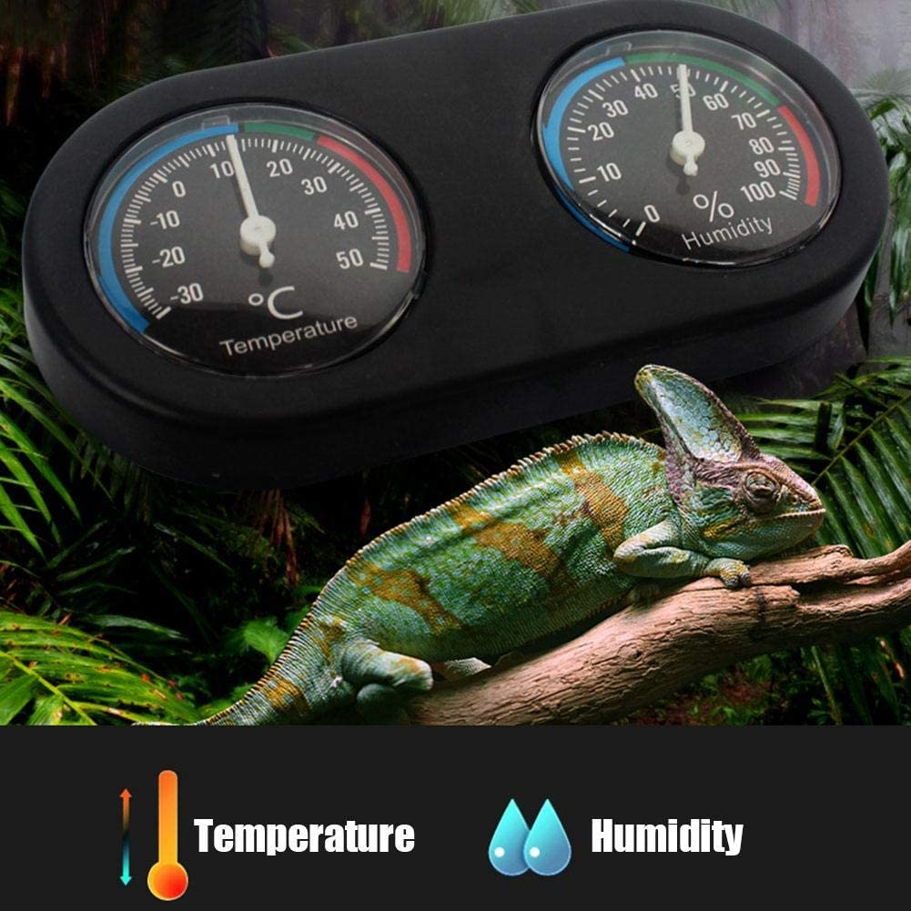 Mini Round Shape Dual Dial Thermometer and Humidity Gauge for Reptile Tank lizard Tortoise Spider Chameleon Pet Rearing Box HEEPDD Reptile Thermometer Hygrometer
