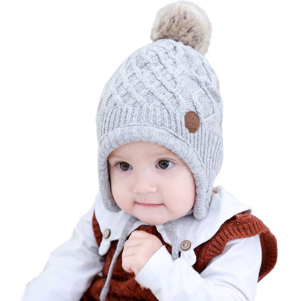 Moon Kitty Baby Girls Earflaps Knit Hats Infant Girls Winter Warm Wool Hats Caps with Fleece Lined
