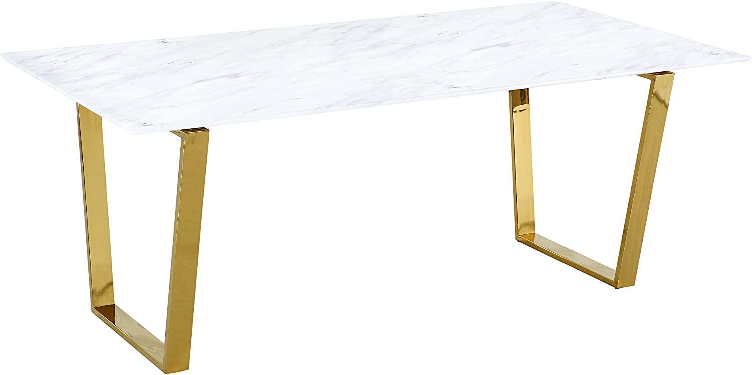 Meridian Furniture Cameron Contemporary Style 78 Rectangular Dining Room Table With Rich Stainless Steel Base And Stone Top Gold W X 39 D X 30 H Tables