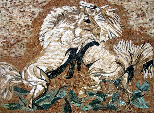 Mozaico - Horses in Love Mosaic Handmade Marble and Natural Stone Artwork Design MA261