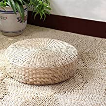 "FSMY Tatami Floor Pillow Sitting Cushion,Round Padded Room Floor Straw Mat Ottoman Outdoor Seat Cushion,Dia19.7""x4.3""H"