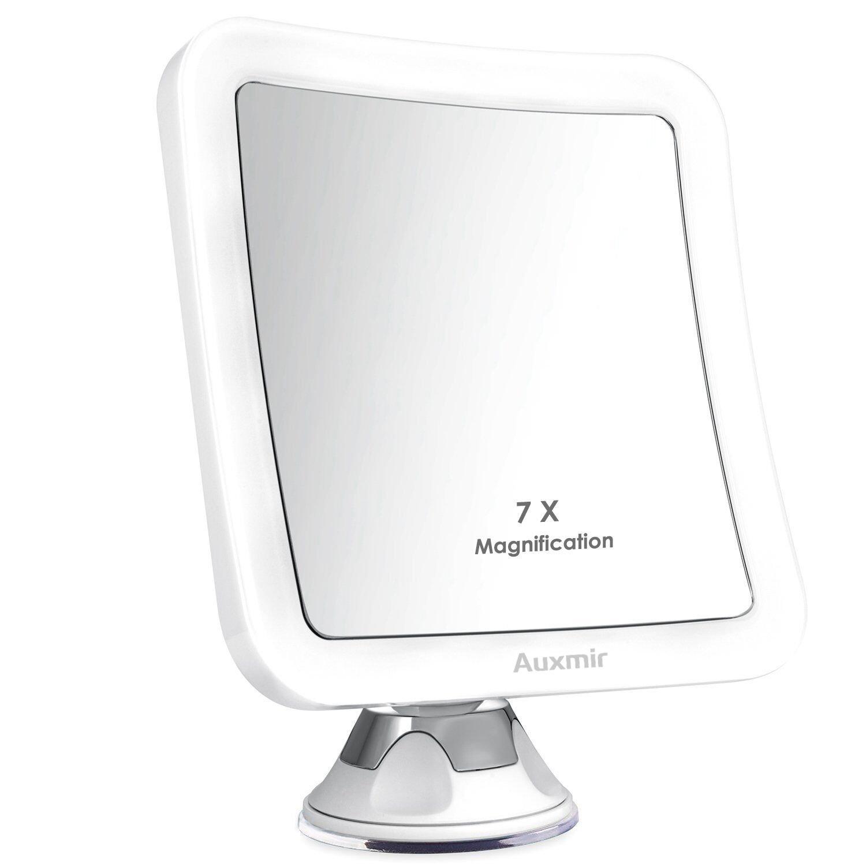 Auxmir LED Miroir de maquillage zoom X7 miroir cosmétique éclairé avec ventouse rotation à 360 degrés pour maquillage, rasage, épilation, maison ou voyage, blanc