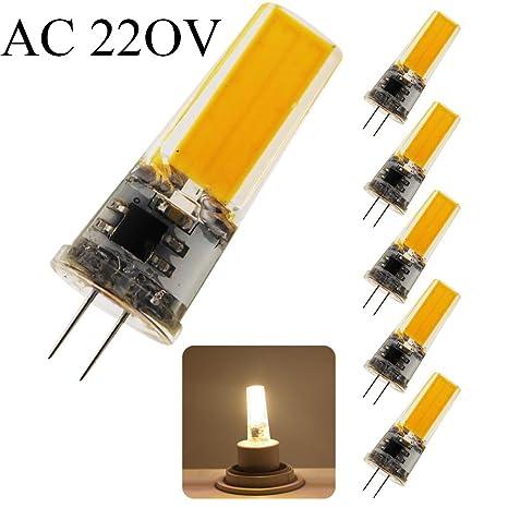 Lampade Led 220v.5 Pcs G4 Cob Led Bulb Ac 220v 5w 50w Halogen Bulb Equivalent 410lumens 2700k Warm White