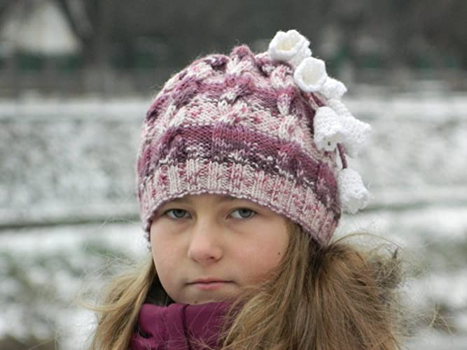 f0911ccab Amazon.com  Girl knit beanie Flower hat Knitted Girls Hat Girl hat ...