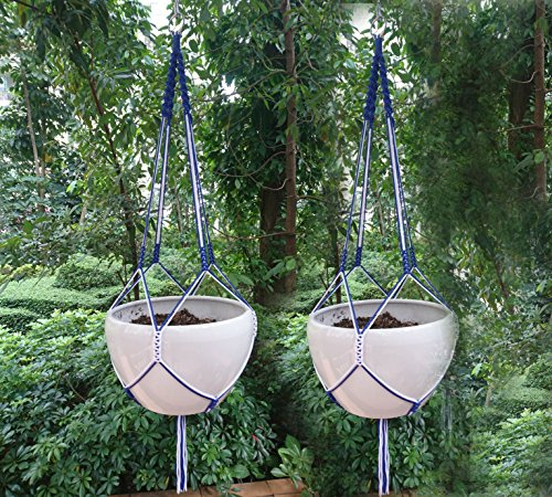 (2 pcs of Nylon Stripe Hand Knotted Plant Hanger 48 inches for Round or Square pot with size 12 inches (Without the White Pot ) (Blue))