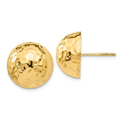 c59cc1bf0 Image Unavailable. Image not available for. Color: 14k Yellow Gold Hammered Half  Ball Post Stud Earrings Button Fine Jewelry Gifts For Women For