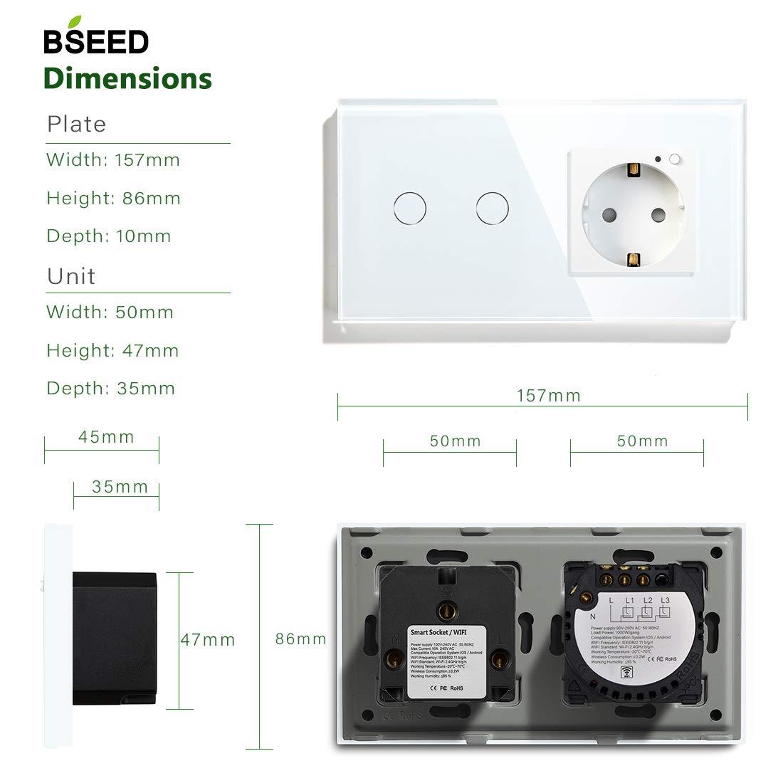 BSEED El Interruptor de luz de Pared de WiFi y el Enchufe de Wifi Funcionan con  Alexa Google Home y Tuya IFTT es Control Remoto 3 Gang with EU Enchufe Negro