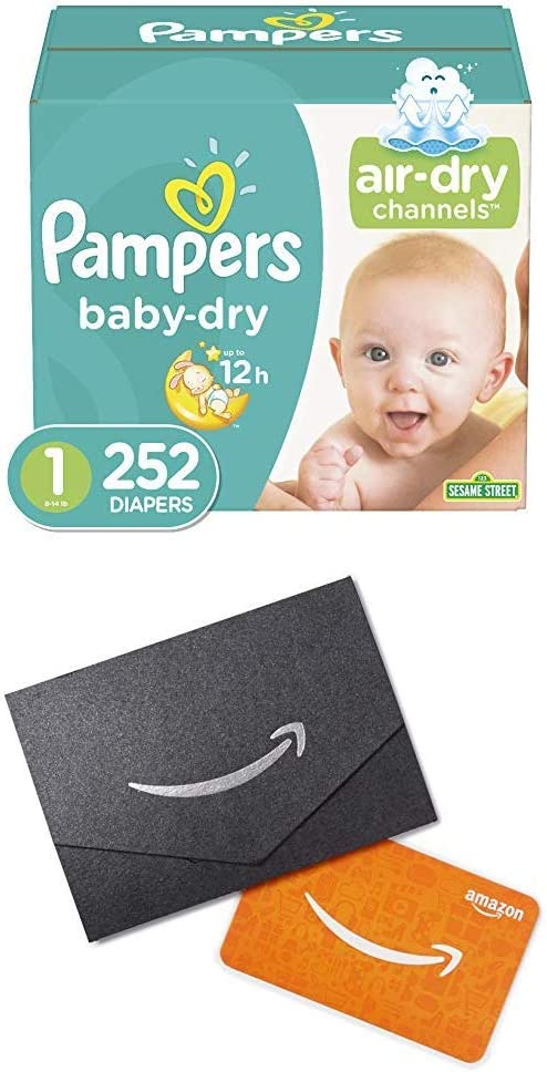 Diapers Newborn/Size 1 (8-14 lb), 252 Count (2), Pampers Baby Dry Disposable Baby Diapers, ONE Month Supply and $20 Gift Card