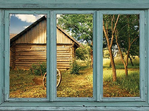 Looking out back towards a log shed and overturned antique wheelbarrow Wall Mural