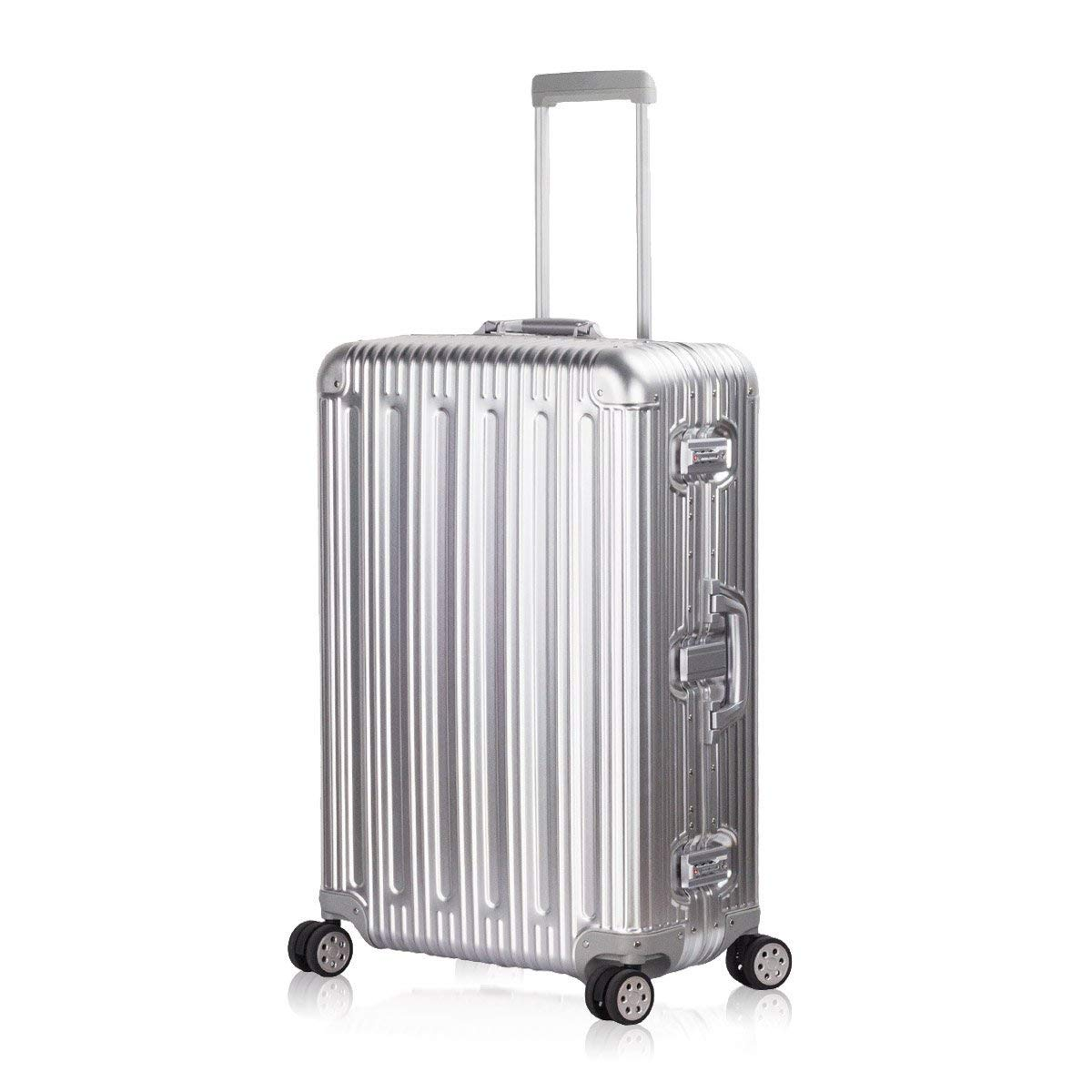 Travelking Aluminum Luggage Carry On Spinner Hard Shell Suitcase Lightweight Metal Suitcases (Silver, 28 Inch)