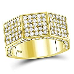 14KT Yellow Gold Round Diamond Octagon Faceted Band