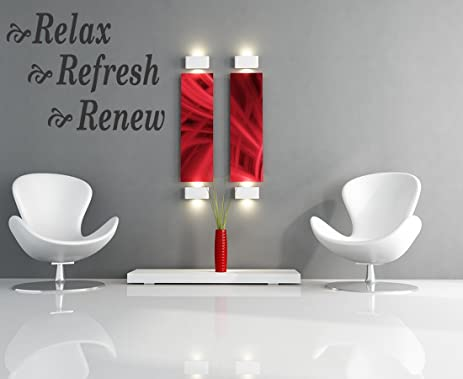 relax refresh renew vinyl lettering quotes wall decals house bedroom bathroom removable quote art design quotes