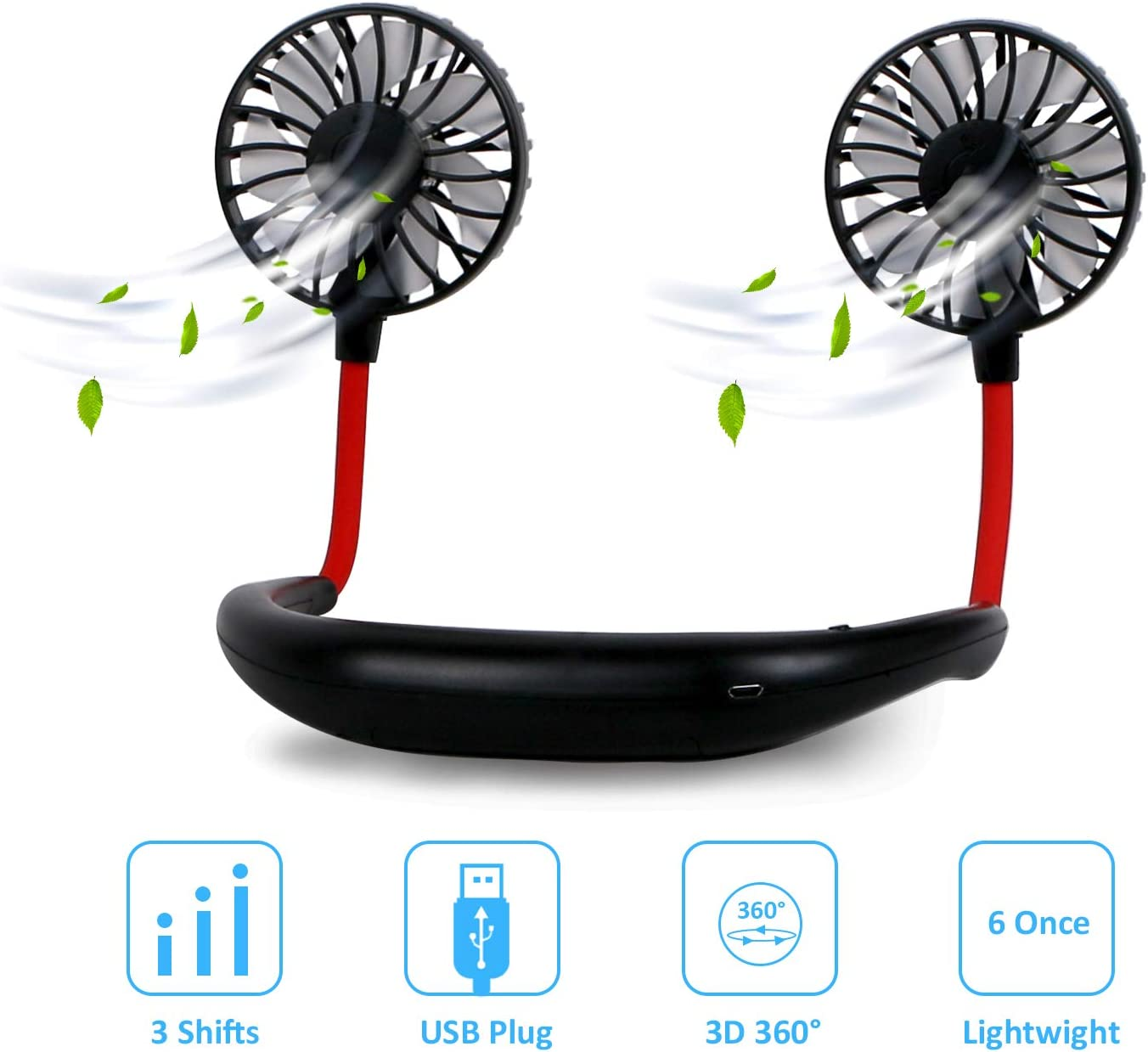 Lefree Portable Neck Fan,Hands Free 360° Free Rotation Neckband Fan,3 Speeds Adjustment with Foam Aroma for Personal Fan,Sport Fans Portable Rechargable for Woman Jogging,Cycling,Traveling.