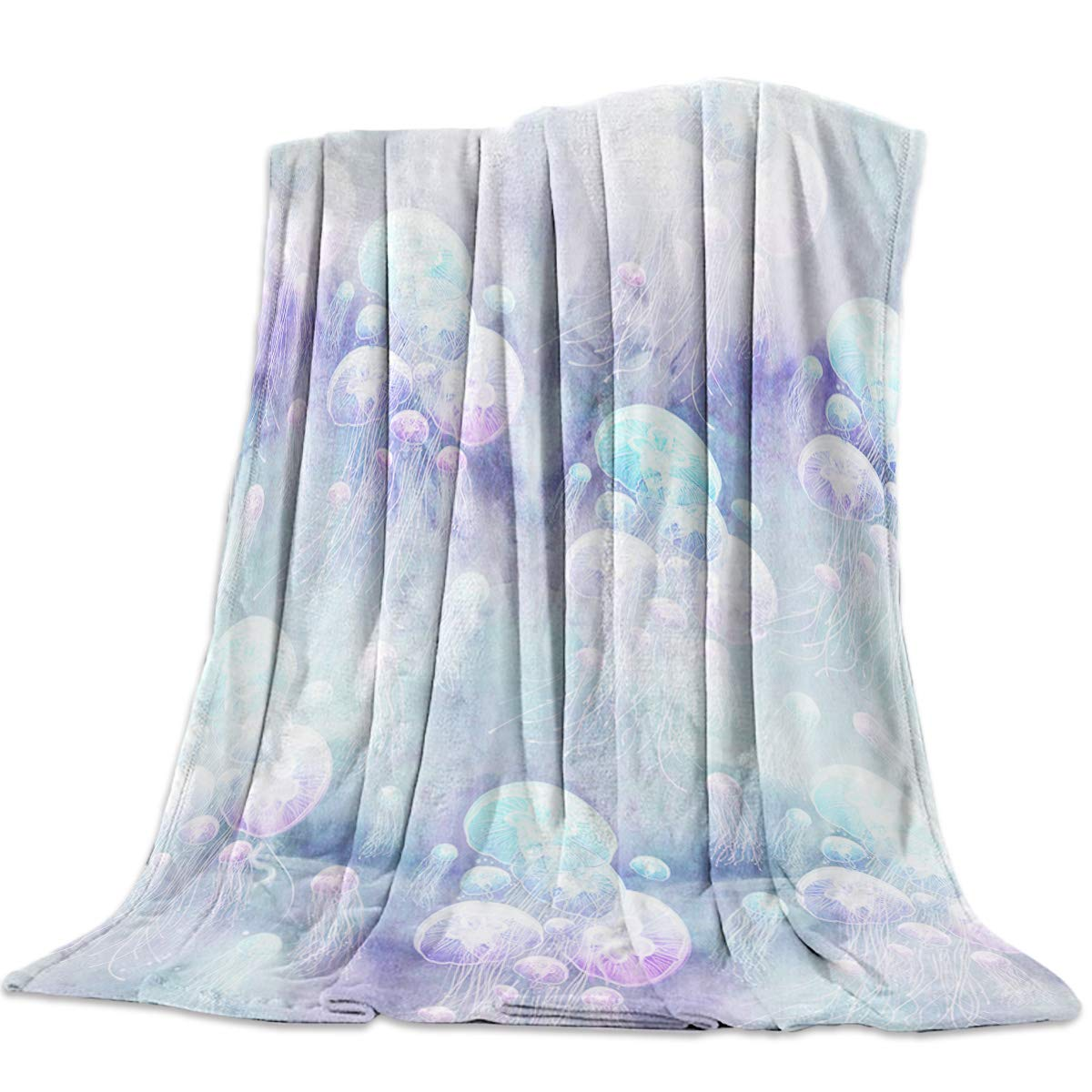 Jellyfish14yag0533 49x59inch=125x150cm YEHO Art Gallery 39x49 Inch Flannel Fleece Bed Blanket Soft Throw-Blankets for Girls Boys,The Traditional Old bluee Car Race of America,Cozy Lightweight Blankets for Bedroom Living Room Sofa Couch