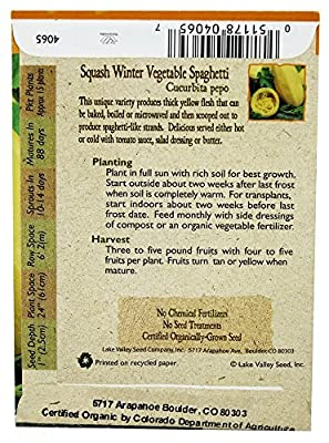 Lake Valley 4065 Organic Squash Winter Vegetable Spaghetti Seed Packet