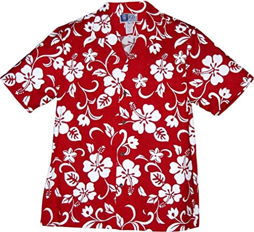 RJC Brand Hibiscus Pareo Men's Hawaiian Shirt Red Large