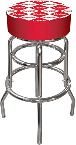 Coca-Cola Checker Padded Swivel Bar Stool