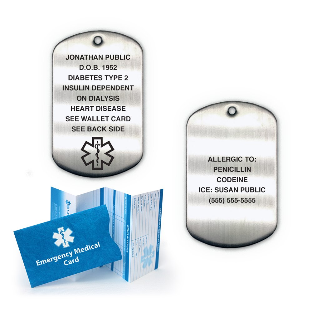 Medical Alert ID Brushed Stainless Steel Dog Tag with 27'' Chain (incl. 18 lines of custom engraving)