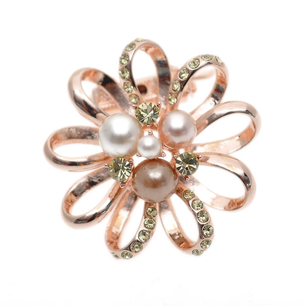 Maikun Round Rhinestone Brooch Scarf Ring Gift for Valentine's Mother's Day