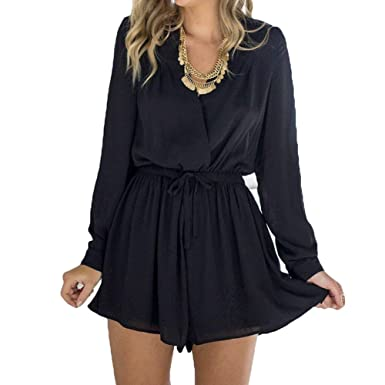 9cf02a7d3be Chiffon Jumpsuit For Women Ladies Fashion Solid Color Rompers Long Sleeve V  Neck Short Playsuit With