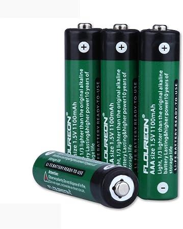 FLOUREON 4 X AAA pilas eliminación batería 1,5 V 1100 mAh para MP3, Walkman, juguetes, dispositivos de alto consumo, RC juguetes, afeitadora, receptor de radio etc.: Amazon.es: Bricolaje y herramientas