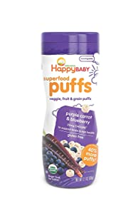 Happy Baby Organic Superfood Puffs Purple Carrot & Blueberry, 2.1 Ounce Canister Organic Baby or Toddler Snacks, Crunchy Fruit & Veggie Snack, Choline to Support Brain & Eye Health