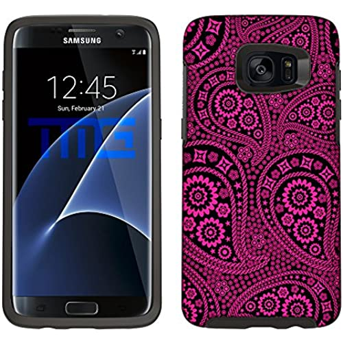 Skin Decal for Otterbox Symmetry Samsung Galaxy S7 Edge Case - Paisley Pink and Flowers on Black Sales