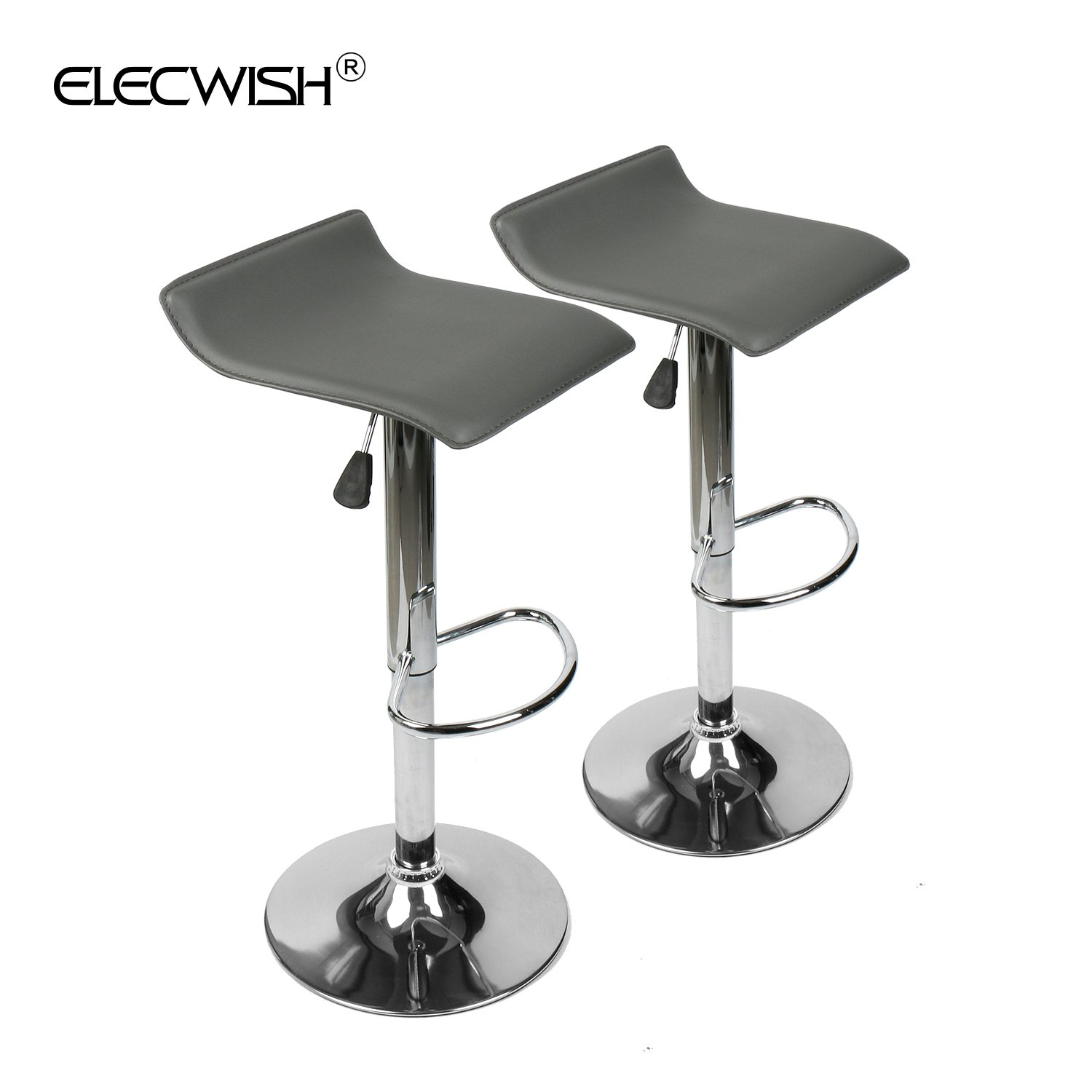 YOURLITEAMZ Modern Swivel Adjustable Home Barstools-Set of 2 for Kicthen Counter Backless Pu Leather Fabric Counter Height Airlift Home Bar Furniture Stool Chairs with ChromeBase (Grey)