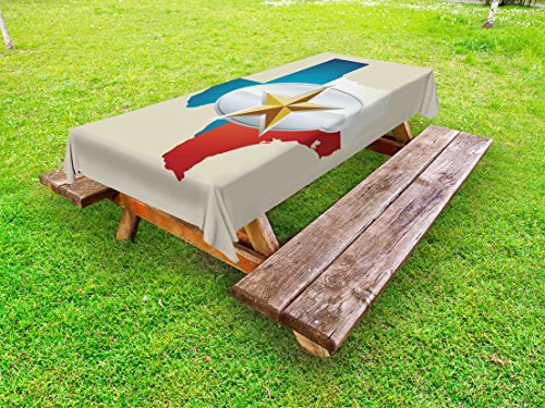 Ambesonne Texas Star Outdoor Tablecloth, Cowboy Belt Buckle Star Design with Texas Map Southwestern Parts of America, Decorative Washable Picnic Table Cloth, 58