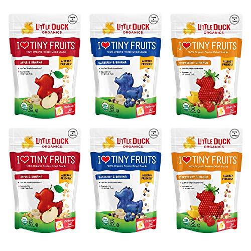 - Little Duck Organics, I Love Tiny Fruits, 100% Organic Pressed Fruit Snacks, Tiny Fruits Variety Pack (2 Apple Banana, 2 Blueberry Banana, 2 Strawberry Mango), 6 Count
