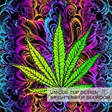 BlessLiving Marijuana Duvet Cover Set Cannabis Leaf Bedding 3 Pcs Rainbow Weed Bedding Trippy Leaves Bed Set Bohemian Green Purple Queen Size Comforter Cover