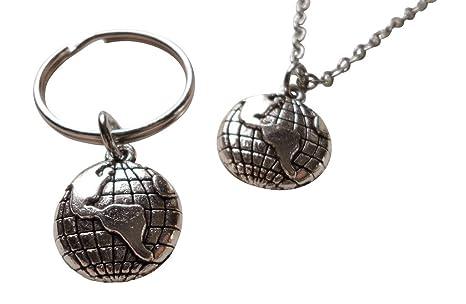 Mundo Globo collar y llavero Set - que significa el mundo ...