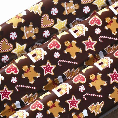 Chocolate Transfer Sheet: Gingerbread. 15 Sheets per pack. Size: 16'' x 10''