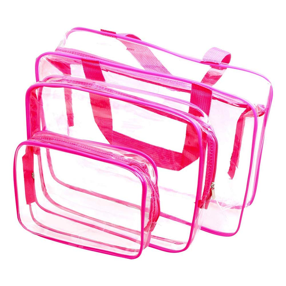 3 Set Clear Packing Cubes – PVC Waterproof Multi-Function Hand Pouch Tote Bag – Makeup Bag with Zipper – Travel Buggy Bag for Toiletries Cosmetic and Bathroom Accessories Red