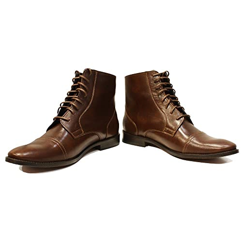 PeppeShoes Modello Kaplino - 7 US - Handmade Italian Mens Brown Ankle Boots - Cowhide Smooth