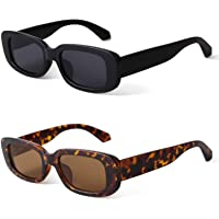 JUDOO Rectangle Sunglasses for Women Vintage Fashion Narrow Square Frame with UV400 Protection