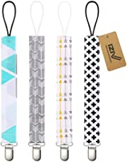 iZiv Baby Pacifier Clip Holder - 4 Pack - Unisex Pattern Design - Teething Ring Toys, Pacifier Leash, Stylish Shower Gift Set