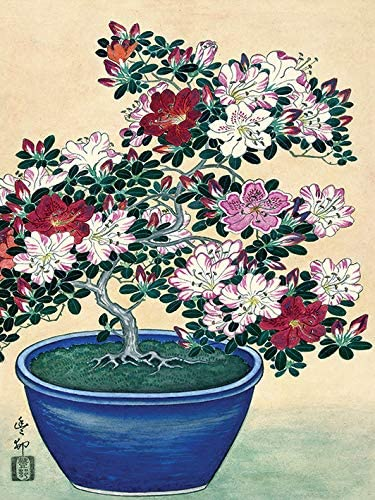 Ohara Koson Wdc12155 Lienzo Impreso 30 X 40 Cm Maceta Azul De Azalea Flores Multicolor 30 X 40 X 3 8 Cm Amazon Es Hogar