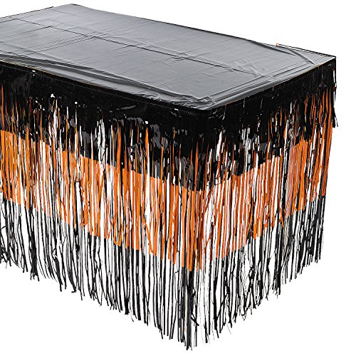 (Fun Express - Halloween Fringe Tableskirt for Halloween - Party Supplies - Table Covers - Table Skirts - Halloween - 1)